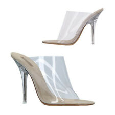 2018 Fashion Womens transparent High Heels Peep Toe Mules Comfy Slip On Sandals