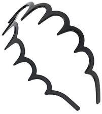 plástico dentada Diadema cinta para el pelo Zig Zag negro 3.5cm
