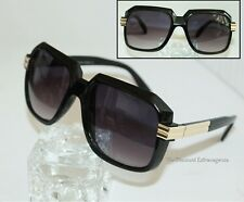 Retro Gazelle Style Black Sunglasses w/ Gold Metal Accents & Fade Lens