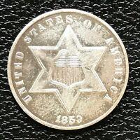 1859 Three Cent Piece Silver Trime 3c High Grade UNC #13838