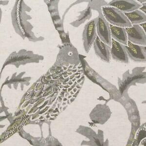 "BALLARD DESIGNS MONCORVO GRAY BIRD JACOBEAN FLORAL MULTIUSE FABRIC BY YARD 54""W"