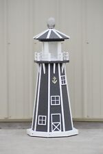 "39"" Octagon Electric and Solar Powered Poly Lumber Lighthouse (Gray/white trim)"