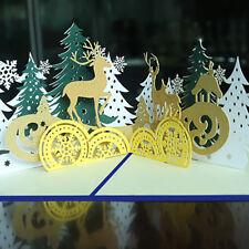 Creative 3D Pop Up Handmade Christmas Forest Deer Greeting Card Xmas Decor Gift