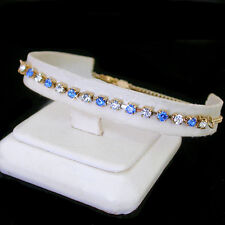 "14K GOLD GL Sapphire BLUE 3mm AUSTRIAN CRYSTAL 9"" Ladies Anklet 