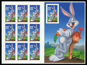 3138 Bugs Bunny with Imperf 10th stamp Complete Sheet Mint NH - Stuart Katz