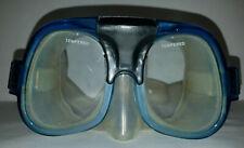 Vintage Unbranded Blue Scuba Diving Snorkel Mask w/Tempered Lens-PreOwned