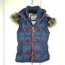 Soul Cal Bodywarmer Gillet Ladies Puffer Size M Blue Fur Hood Fleece Lined