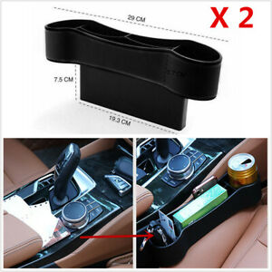 2Pcs Black Car Accessories Seat Crevice Storage Box Drink Cup Holders Organizer