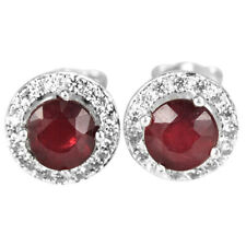 GENUINE BLOOD RED RUBY ROUND & WHITE CZ STERLING 925 SILVER STUD EARRING