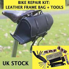 Set di riparazione bici borsa in pelle multi-tool forare riparazione KIT Nero Bianco Uk Stock