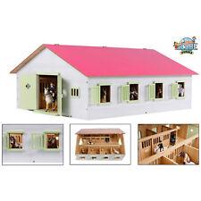 Kids Globe Spielzeug Holz Pferdestall Stall rosa 1:24 mit 7 Pferdeboxen Boxen