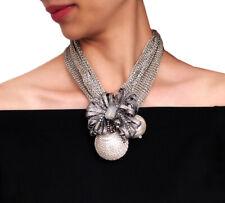 Nataliya Silver Round Pearl Choker Statement Necklace