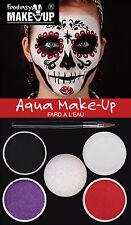 Day of The Dead Aqua Makeup Kit Fancy Dress Costume Face Paint Set