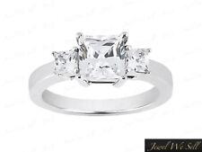 Genuine 0.33ct Princess Diamond 3Stone Gallery Ring 18K White Gold F VS2 Prong