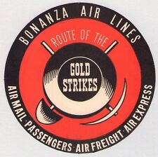 ORIGINAL BONANZA AIRLINES LAS VEGAS LUGGAGE LABEL - ROUTE OF THE GOLD STRIKES