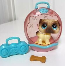 Littlest Pet Shop Dog Lot LPS Pug Glass Eyes Carrier Radio Accessories