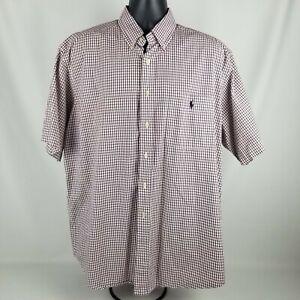 Polo Ralph Lauren Golf Red Check Tilden Button Down Dress Shirt Size L