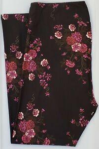 TC LuLaRoe Tall & Curvy Leggings Black Cute Roses Flowers on Black NWT F52