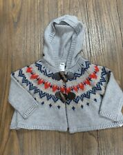 OshKosh B'Gosh Girls' Size 9M 12M Fair Isle Heart Hooded Swing Sweater Euc