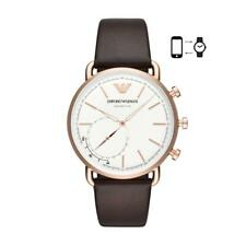 Mens Hybrid Smartwatch EMPORIO ARMANI AVIATOR ART3029 Leather Brown White