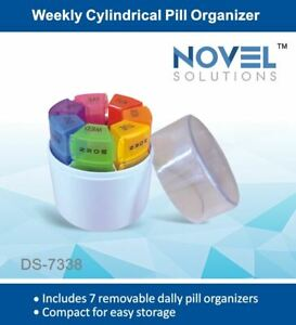 Cylindrical Weekly 7 Day Pill Tablet Organiser Travel Medicine Case Holder