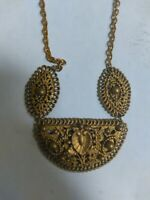 Large Antique Victorian Style Brass Necklace Ornate