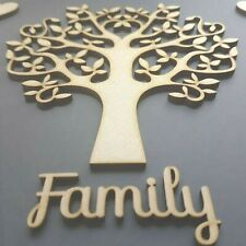 PACK OF 10 TREES + 10 FAMILY SCRIPT Wooden Shape Craft Christmas BULK SBT 175mm
