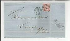 Preussen V / COBLENZ 7-8 A., 2 BLAUE vorph. K2 1871 a. Reichspostvorl.-Brief