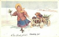 Artist impression Christmas Winter Dogs Cart Girl 1920s Postcard 20-2486