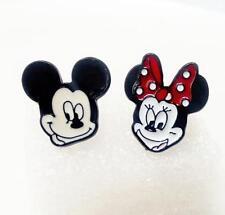 Disney mickey minnie metal earring ear stud earrings studs one pair new
