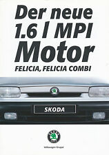 Prospekt Škoda Felicia Motor 1.6 MPI 1 96 1996 brochure Skoda Autoprospekt Auto
