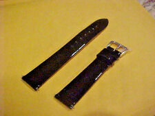 New Shinny Black Leather 16mm Wrist Watch Band Strap