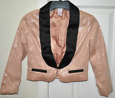 SEQUINED Sequins Tuxedo Night CLUB Outfit Jacket Blazer Coat Top Blouse Lined XS