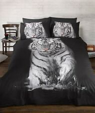 Rapport Tiger Animal Photographic Print Duvet Cover Bed Set Multi Black & White