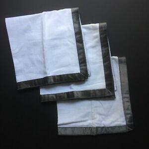 West Elm Set 3 LUXE Luster Gray Velvet Border White Napkins PEWTER