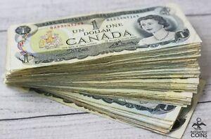 Lot of 100: 1973 Bank of Canada $1 Queen Elizabeth II Notes Assorted Grades