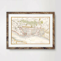 PORTSMOUTH CITY VINTAGE OLD MAP ART PRINT Poster Antique County Hotel Picture