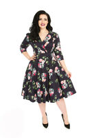 Hearts & Roses Retro Midnight Purple 50s Women Rockabilly Pink Roses Swing Dress