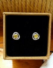 NEW, Rare 0.65cts Natural Sphene-Titanite Curls & Swirls Stud Earrings, Platinum