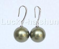 Dangle 14mm round green south sea shell pearls Earrings 925 silver hook j11633
