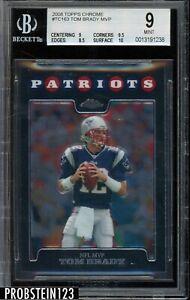 2008 Topps Chrome #TC163 NFL MVP Tom Brady Patrots BGS 9 MINT w/ 10