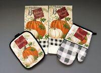 Buffalo Plaid Thankful Blessed Dish towels Oven Mitt Pot holder Set of 4 Fall