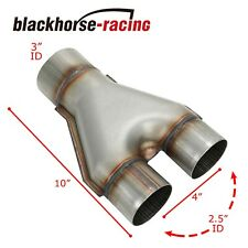 """Stainless Steel Y Pipe 3"""" Single to 2 1/2"""" 2.5"""" Dual Exhaust Adapter Connector"""