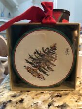 Spode Christmas Tree Coasters Paper Round Set of 12 C R Gibson 4'' NEW In box