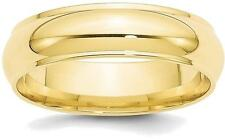 10K Yellow Gold 6mm Half Round with Edge Band Ring