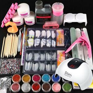 UK Sale - Acrylic Nail Starter Kit Acrylic Powder Liquid Tool Brush Tips DIY Set