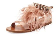 Women's Miu Miu Feather Ankle Flat Sandal Neutral Size 10/40 7954