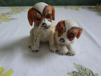 Pair Of Vintage Puppy Dogs Cavalier King Charles Spaniel Ceramic Figurine