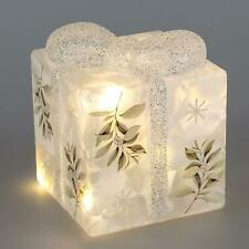 LED Deko Geschenk, Paket H. 14cm 12x13cm weiß aus Glas mit Timer Formano W21