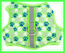 Top Paw Lime Green Blue Silver White Paw prints Padded Comfort Dog Harness XS